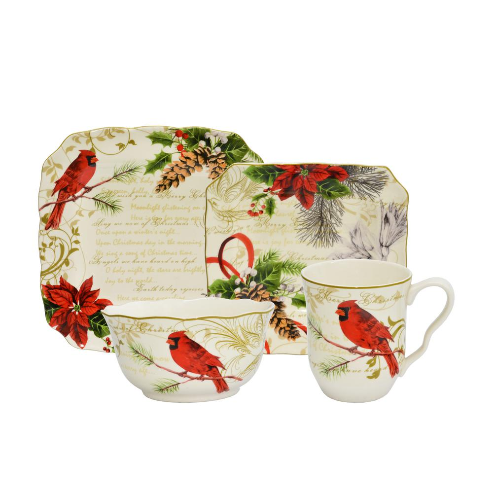 222 Fifth 222 Fifth 16-Piece Holiday Wishes Red Dinnerware Set, Red/White/Green
