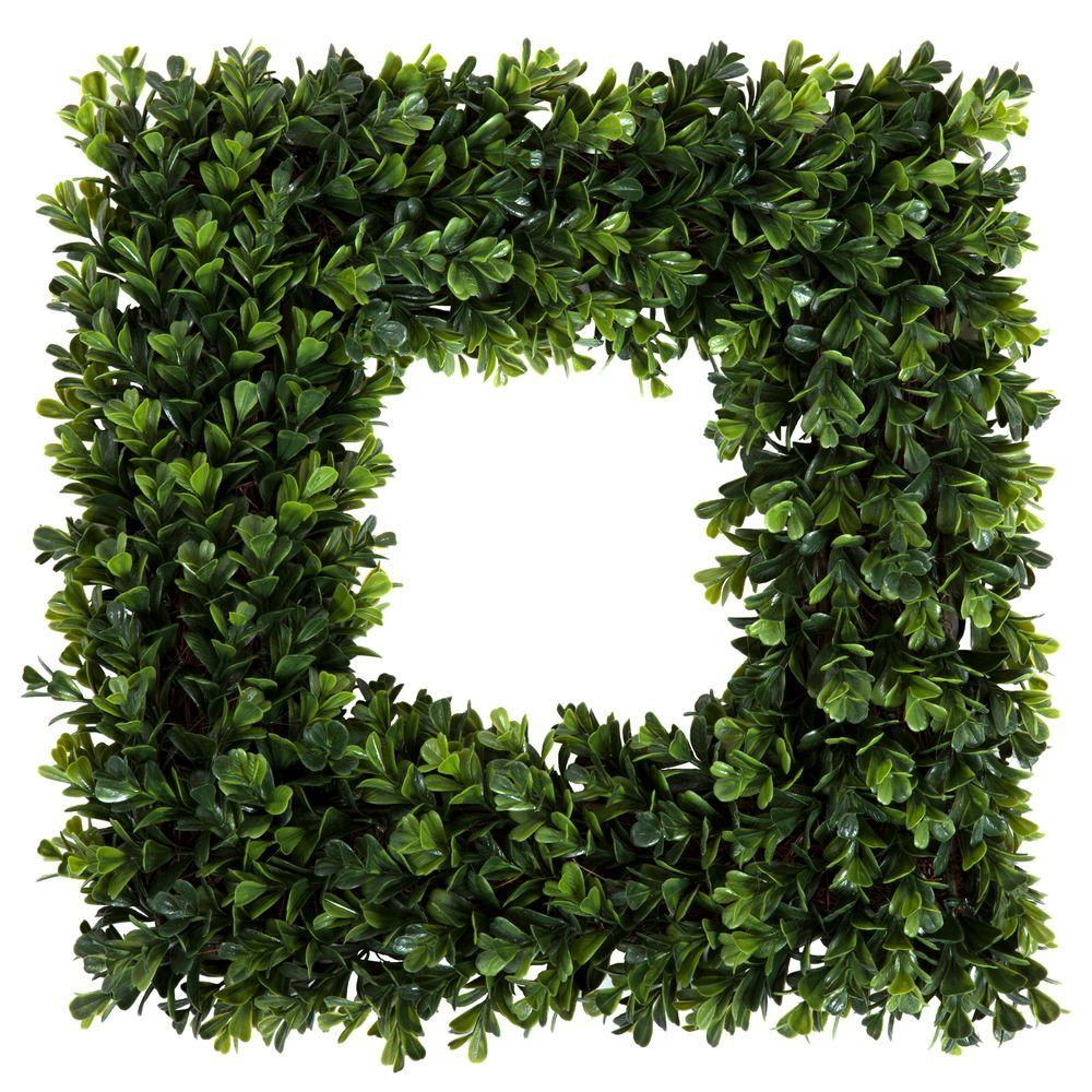 Pure Garden 16 5 In Square Boxwood Wreath M150013 The Home Depot