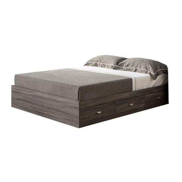 Distressed Gray Grained Wooden Frame Full Size Chest Bed with 3-Drawers