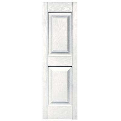 12 in. x 39 in. Raised Panel Vinyl Exterior Shutters Pair in #117 Bright White