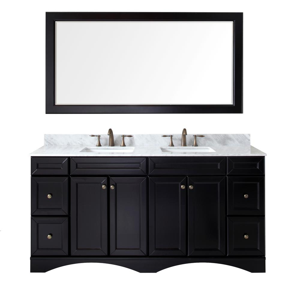 Virtu USA Talisa 72 in. W x 22 in. D x 35.24 in. H Espresso Vanity With Marble Vanity Top With White Square Basin and Mirror