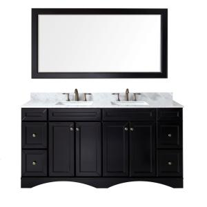 Virtu USA Talisa 72 inch W x 22 inch D x 35.24 inch H Espresso Vanity With Marble Vanity Top With White Square Basin and... by Virtu USA