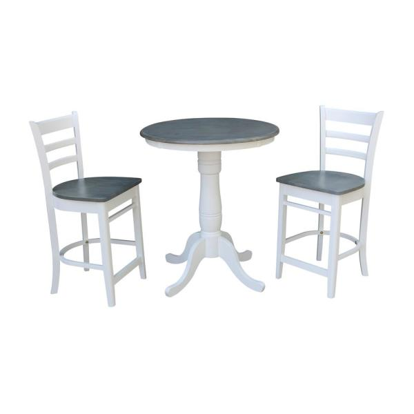 Hampton 3-Piece 30 in. White/Heather Gray Round Solid Wood Counter Height Dining Set with Emily Stools