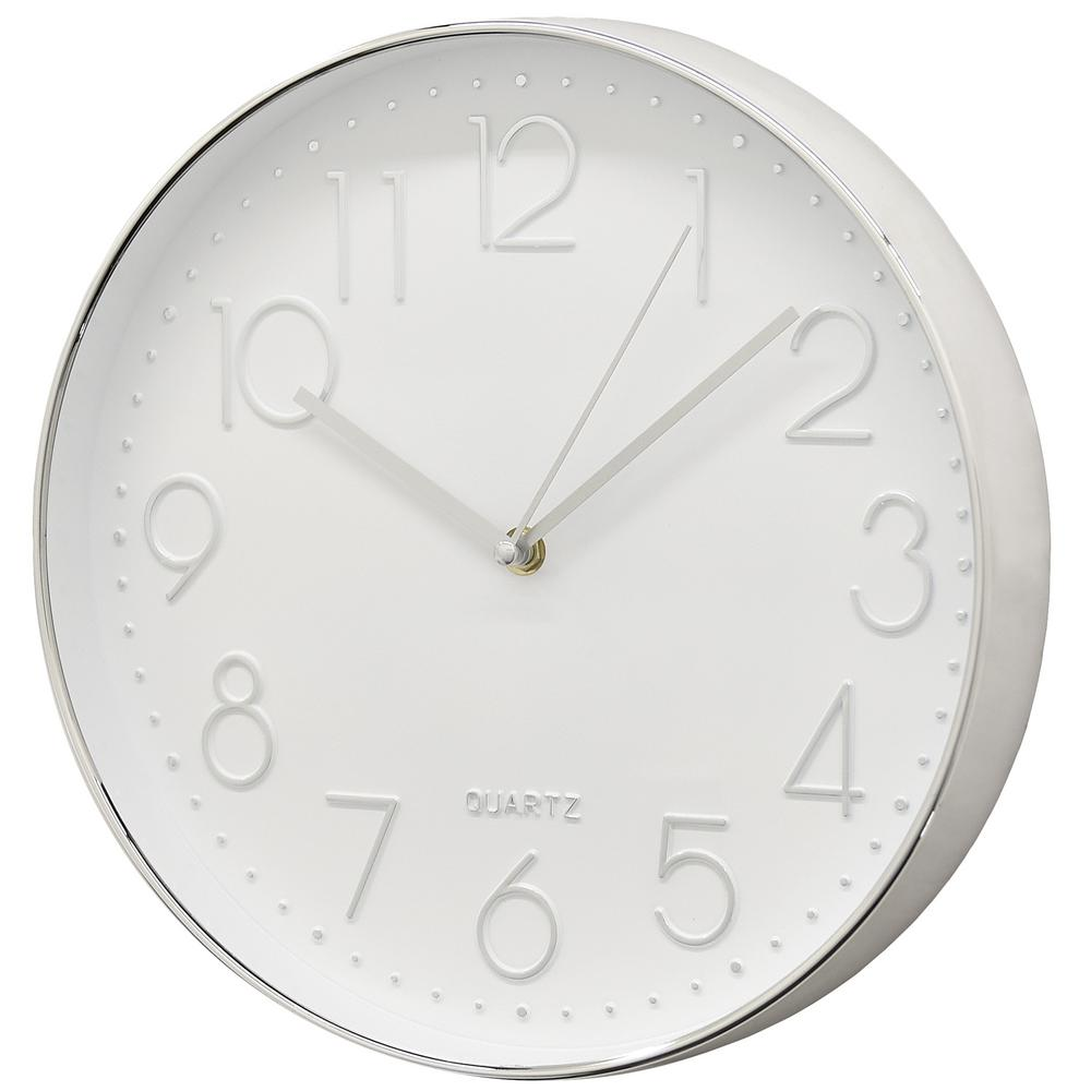 Three Hands All White Round Wall Clock
