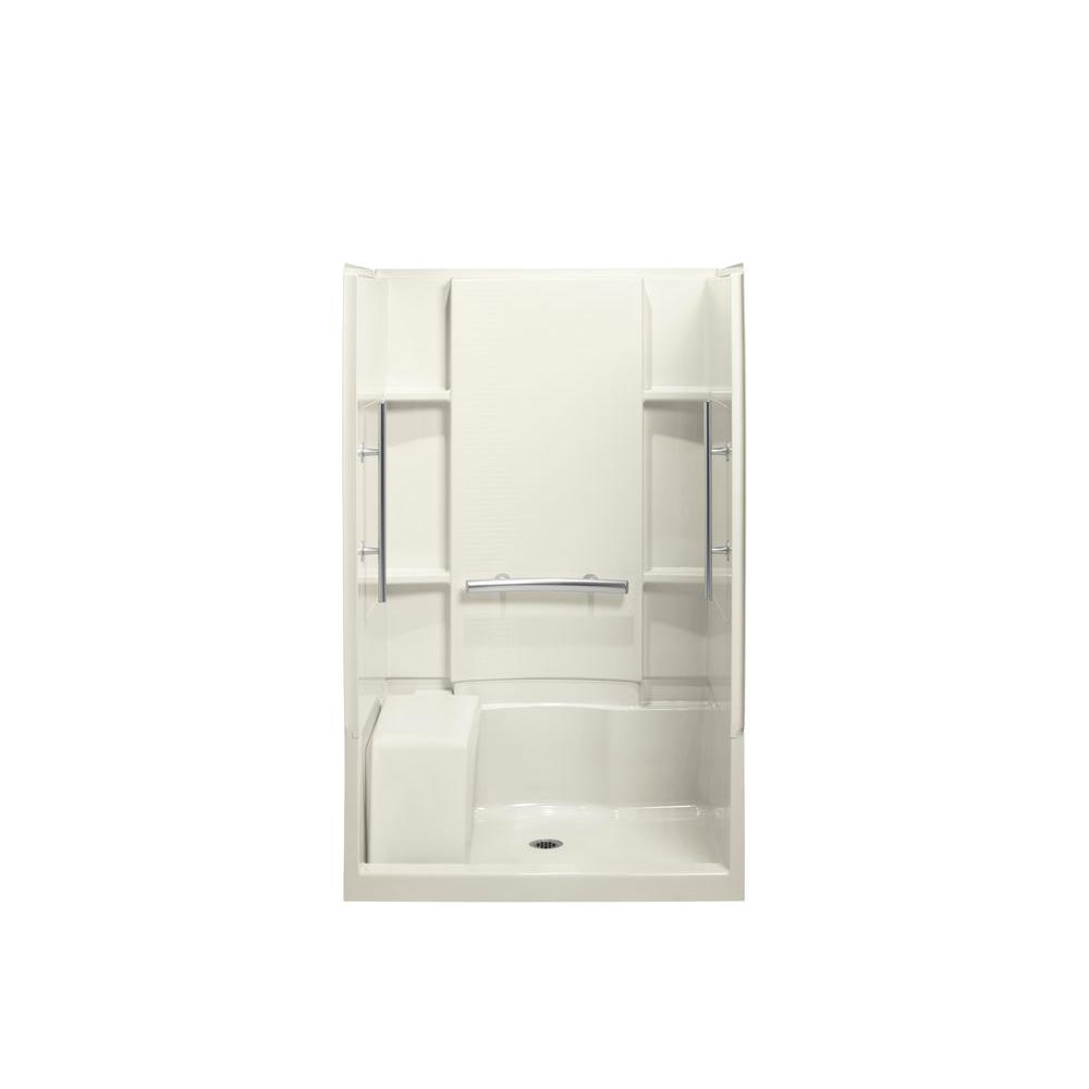 STERLING Accord Seated 36 in. x 48 in. x 74-1/2 in. Shower Kit with Grab Bars in Biscuit