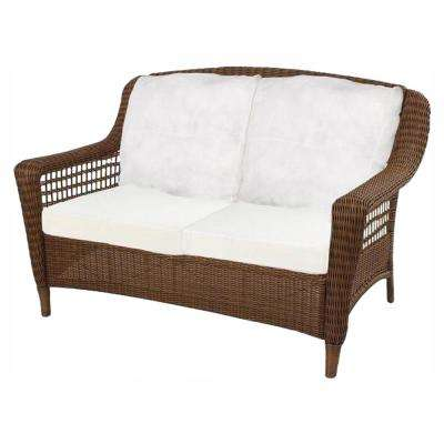 Spring Haven Brown Wicker Outdoor Patio Loveseat with Cushions Included, Choose Your Own Color