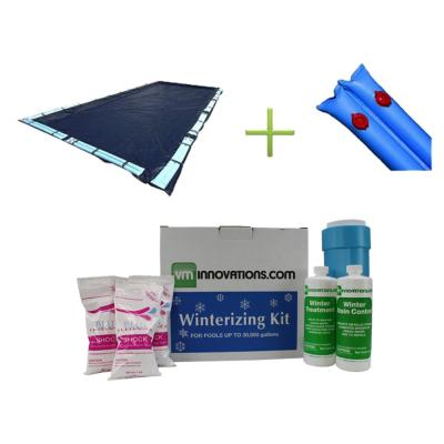 20 ft. x 40 ft. Rectangular Dark Blue In-Ground Pool Cover, Water Tubes and Winterizing Kit