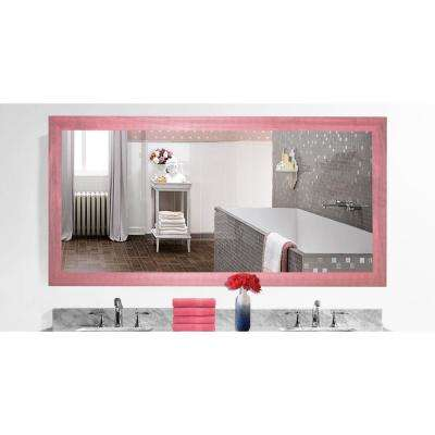 78 in. x 39 in. Vintage Pink Framed Mirror Double Vanity