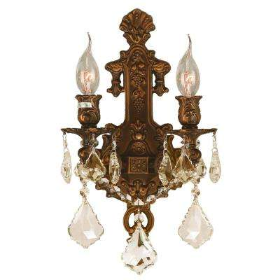 Versailles Collection 2-Light French Gold and Golden Teak Crystal Wall Sconce