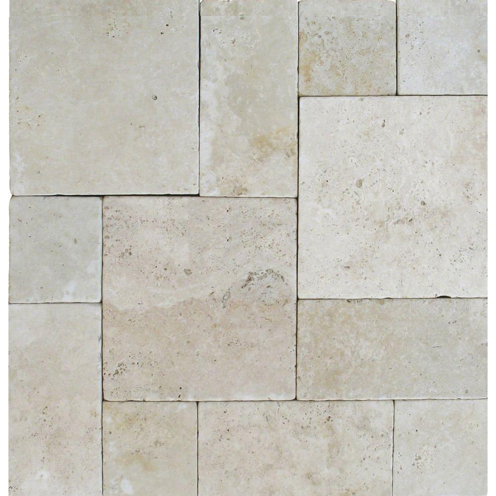 Tuscany Beige Pattern 16 In. X 24 In. Tumbled Travertine Paver Kit (10