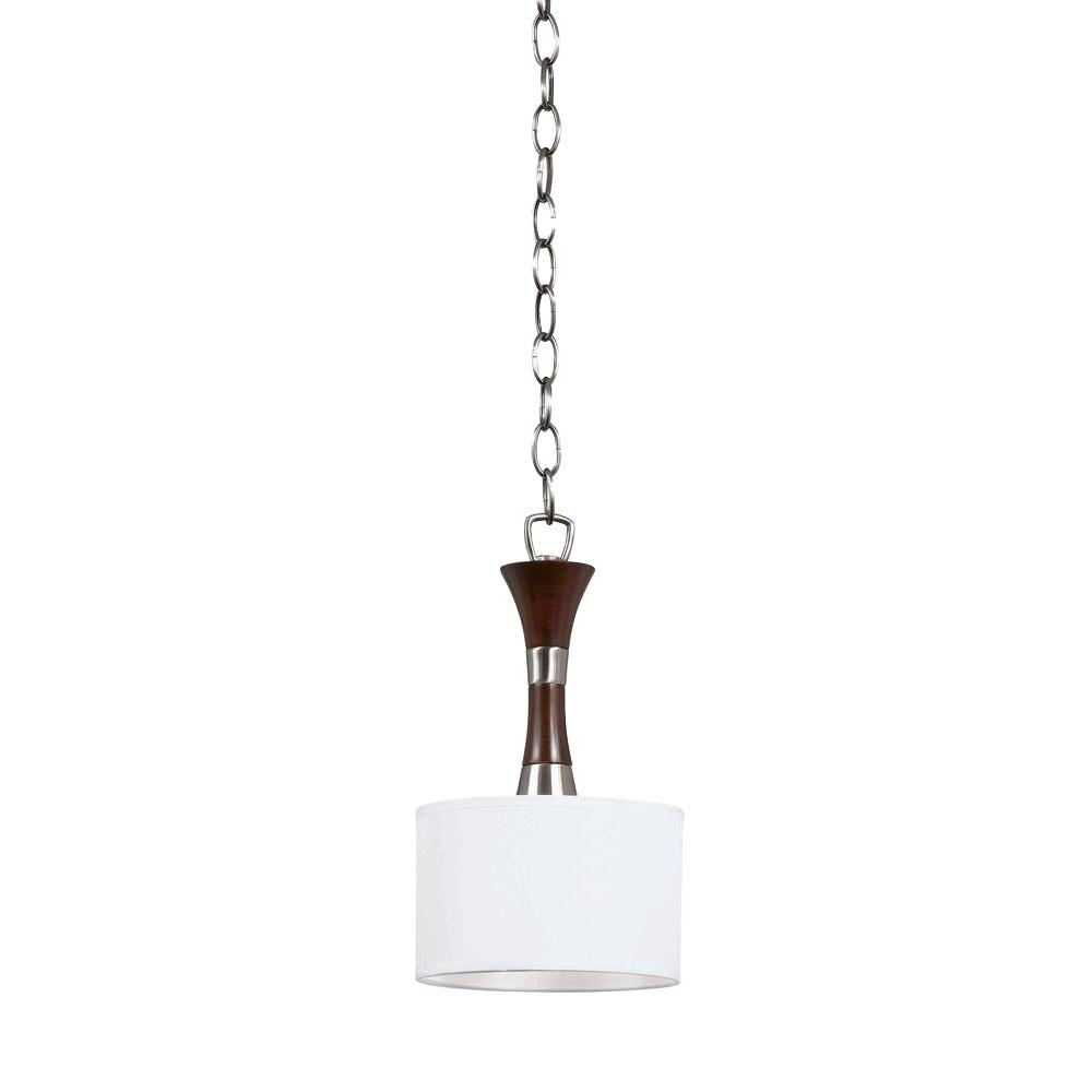 Illumine 1-Light Brushed Steel and Wood Mini Pendant with Linen Drum Shade
