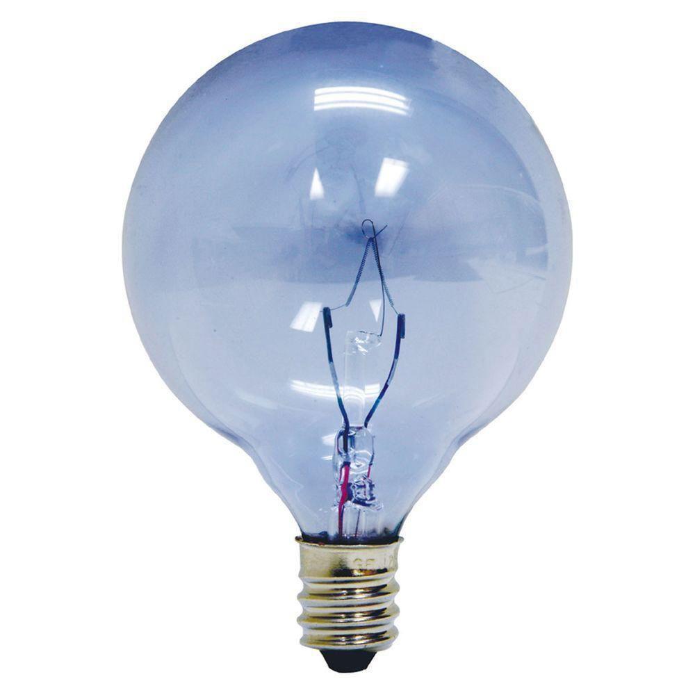GE Reveal 40-Watt Incandescent G16.5 Globe Candelabra Base ...