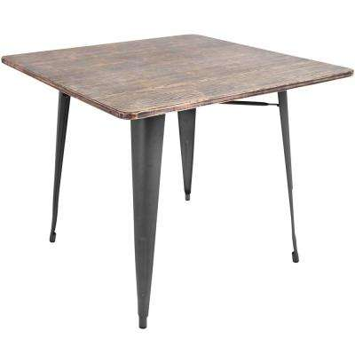Oregon 36 in. Grey and Brown Square Dining Table