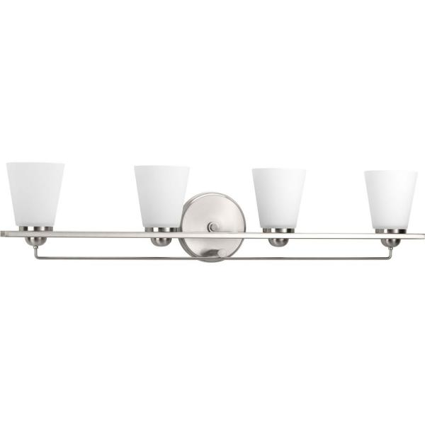 Flight Collection 4-Light Brushed Nickel Bathroom Vanity Light with Glass Shades