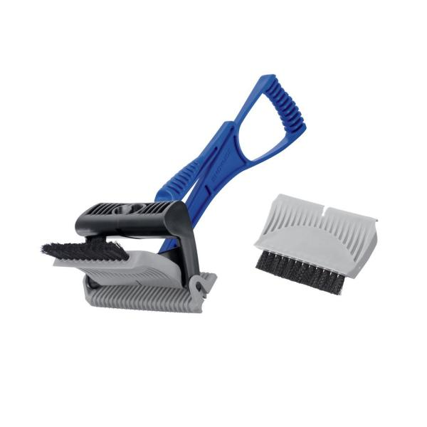 Ice Dozer and Snow Scraper with Ice Breaking Teeth and Bristle Brush Attachment
