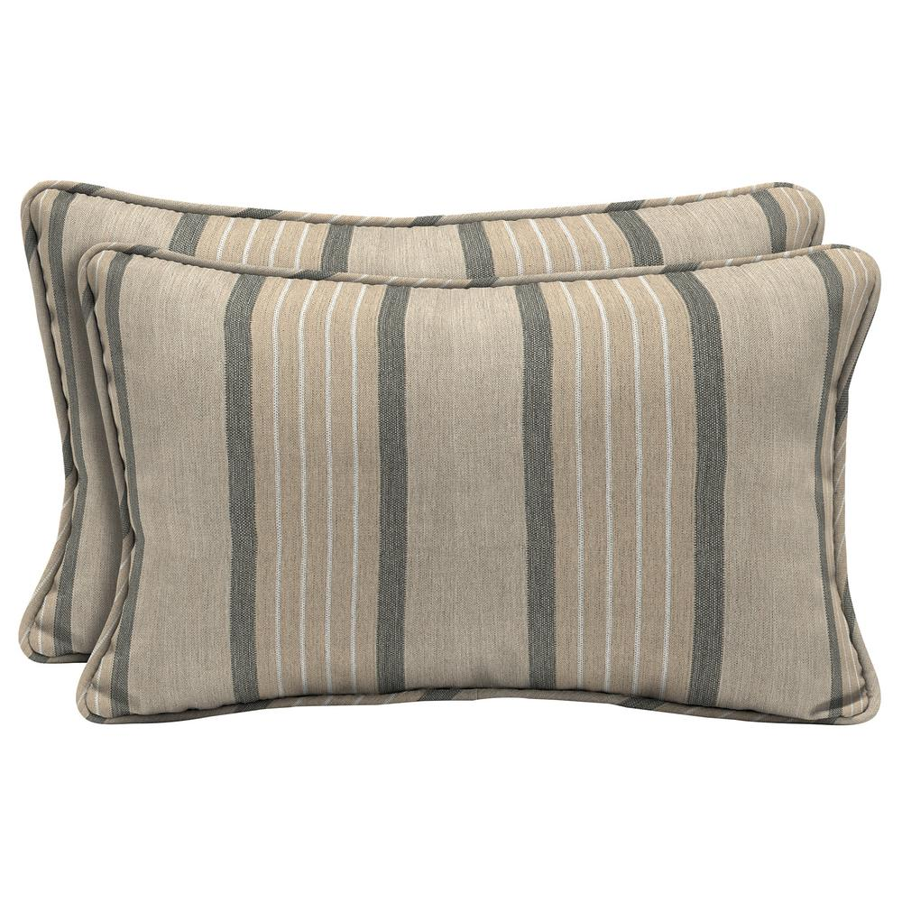 Sunbrella Cove Pebble Lumbar Outdoor Throw Pillow (2-Pack)