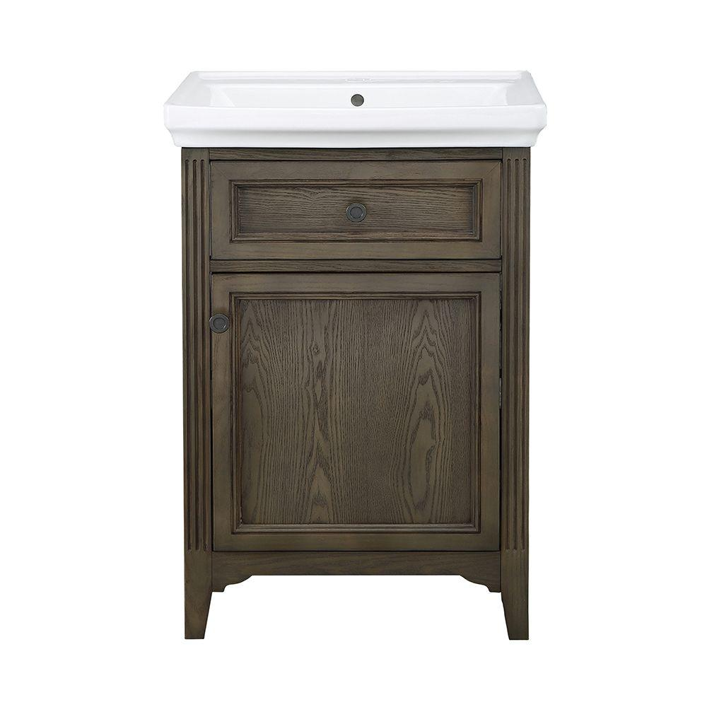 Chariot 24 in. Vanity in Driftwood with Vitreous China Vanity Top and Basin in White