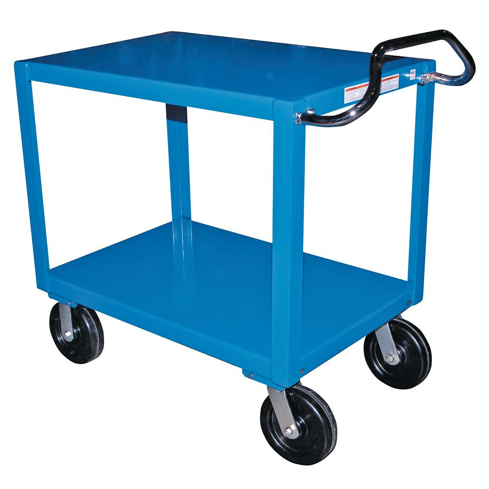 Vestil 24 in. x 72 in. 2 Shelf Heavy Duty Ergo Handle Cart