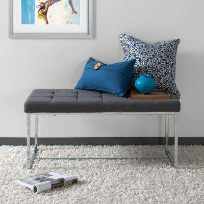 Huntington Modern Grey Fabric Bench with Chrome Base