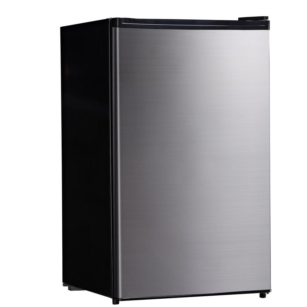 Midea stainless steel compact single reversible door upright freezers - Mini Refrigerator In Stainless Steel