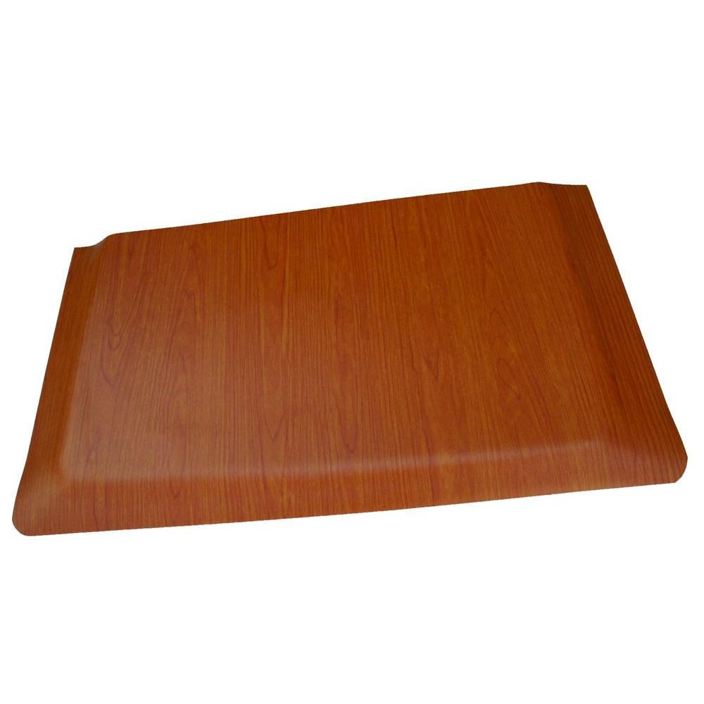 Double Sponge Cherry Wood Grain Surface 24 in. x 72 in. Vinyl Kitchen Mat