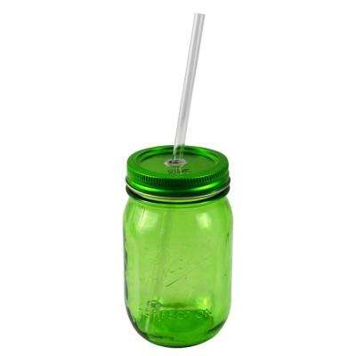 Redneck Sipper Drinking 16oz Green Ball Mason Jar with Authentic Heritage Reusable Acrylic Straw
