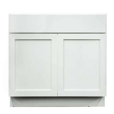 Frosted White Shaker II Ready to Assemble 36x34.5x24 in. 2 Door 1 Drawer Sink Base Cabinet