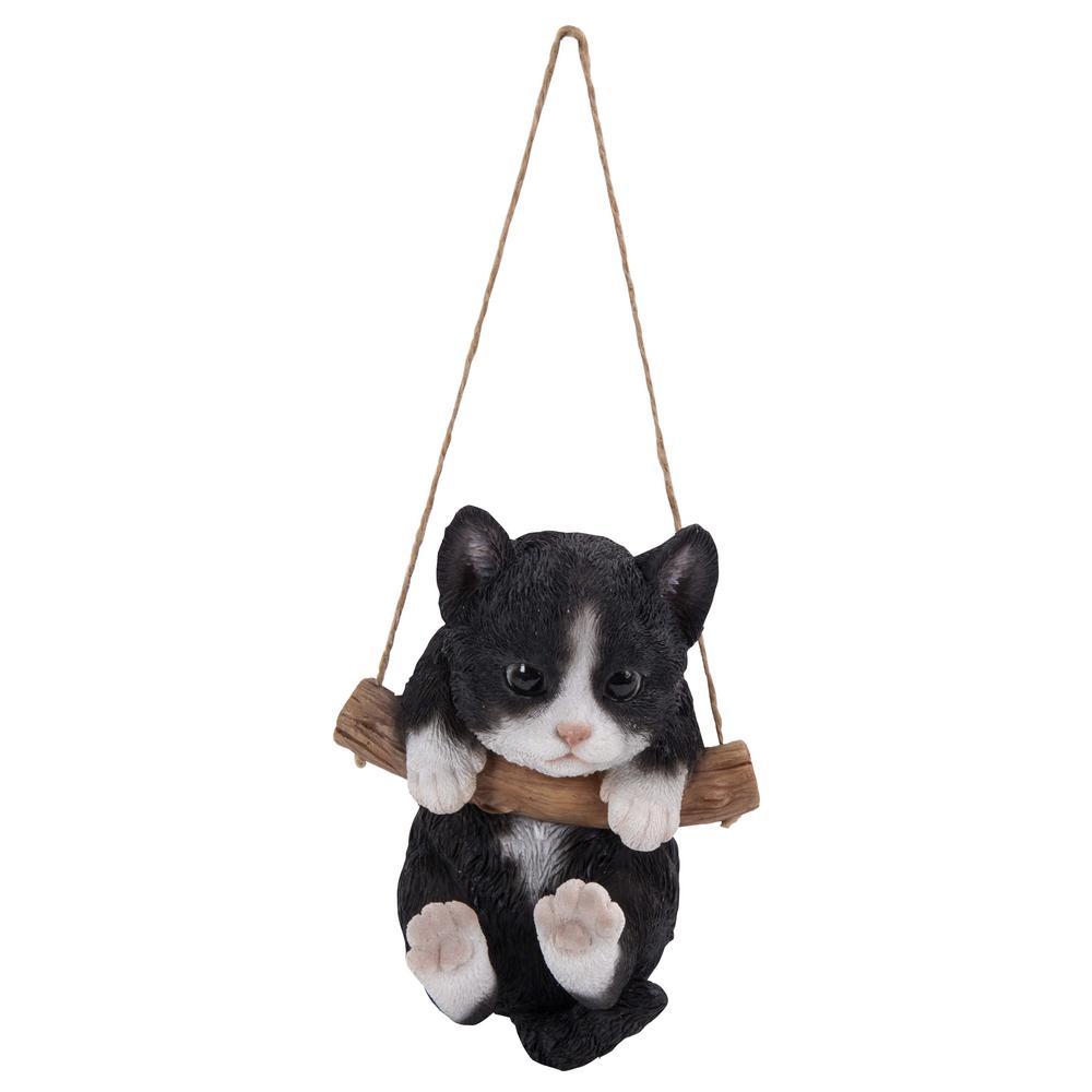 Black and White Kitten Hanging Statue