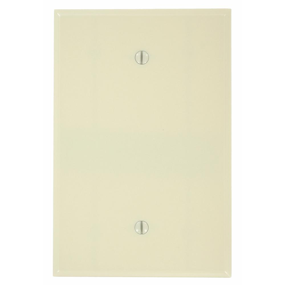 1-Gang No Device Blank Wallplate, Oversized, Thermoset, Box Mount, Ivory