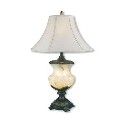 32 in. Alabaster Black Table Lamp with Night Light