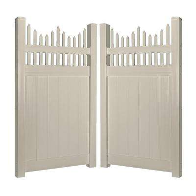 Louisville 7.4 ft. W x 6 ft. H Khaki Vinyl Privacy Fence Double Gate Kit