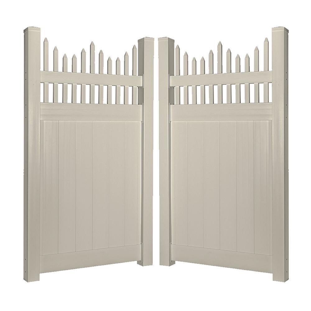 Louisville 7.4 ft. W x 7 ft. H Khaki Vinyl Privacy Double Fence Gate