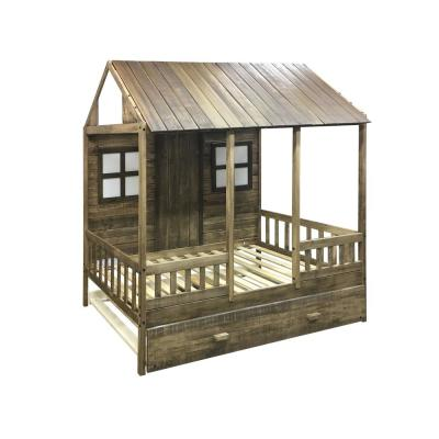 Front Porch Rustic Driftwood Twin Low Loft Bed with Twin Trundle Bed