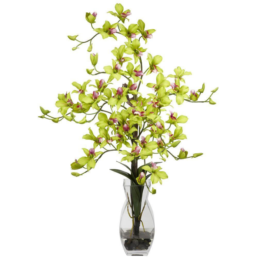 35 in. H Green Dendrobium with Vase Silk Flower Arrangement
