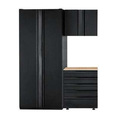 Heavy Duty Welded 64 in. W x 81 in. H x 24 in. D Steel Garage Cabinet Set in Black (3-Piece)