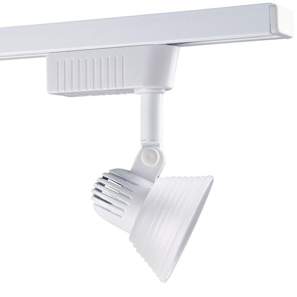 1501 Series Low-Voltage MR16 White Track Lighting Fixture with Frost Glass