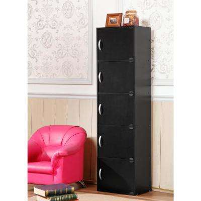 5-Shelf, 59 in. H Black Bookcase with Doors