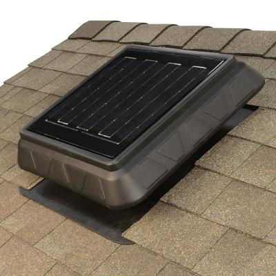 900 CFM Black Resin Hybrid (Solar/Electric) Powered Solar Attic Fan with Adjustable Solar Panels