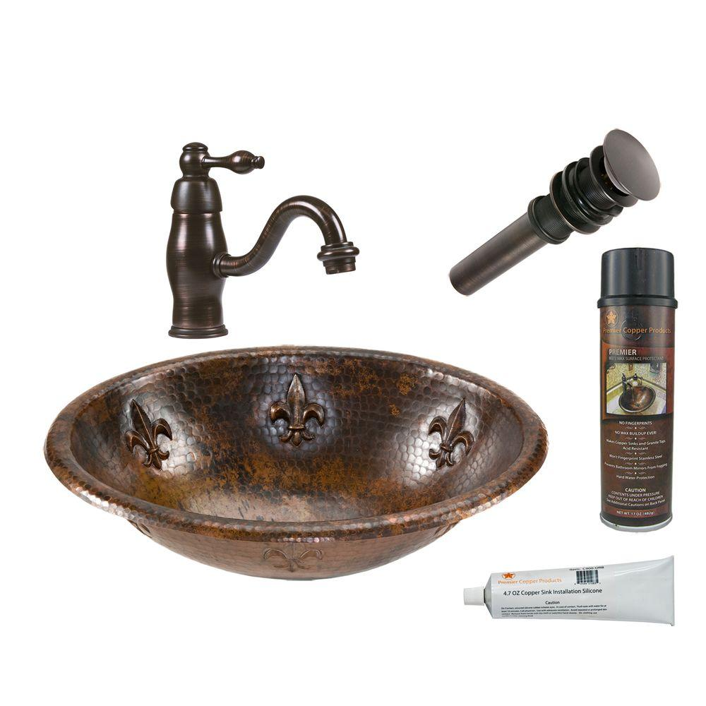Premier Copper Products All In One Oval Fleur De Lis Self Rimming Hammered Copper Bathroom Sink