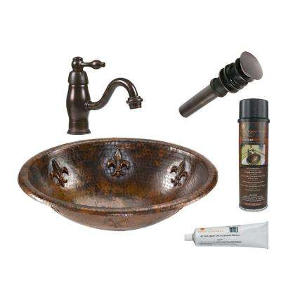 All-in-One Oval Fleur De Lis Self Rimming Hammered Copper Bathroom Sink in Oil Rubbed Bronze