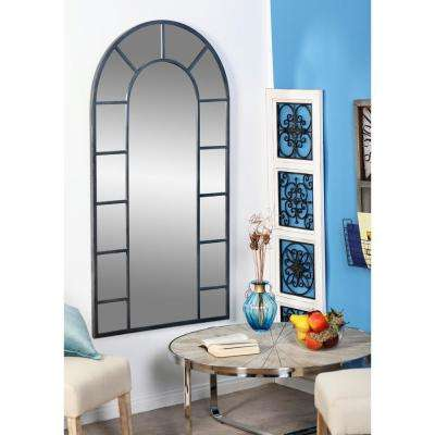 Arched Black Decorative Wall Mirror with 14-Pane Divisions