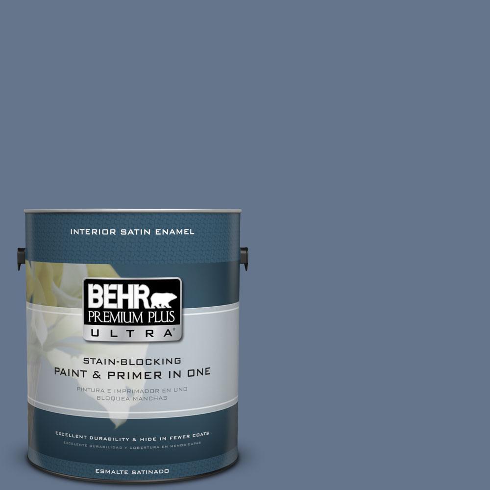 BEHR Premium Plus Ultra 1-gal. #BXC-75 Saltbox Blue Satin Enamel Interior Paint