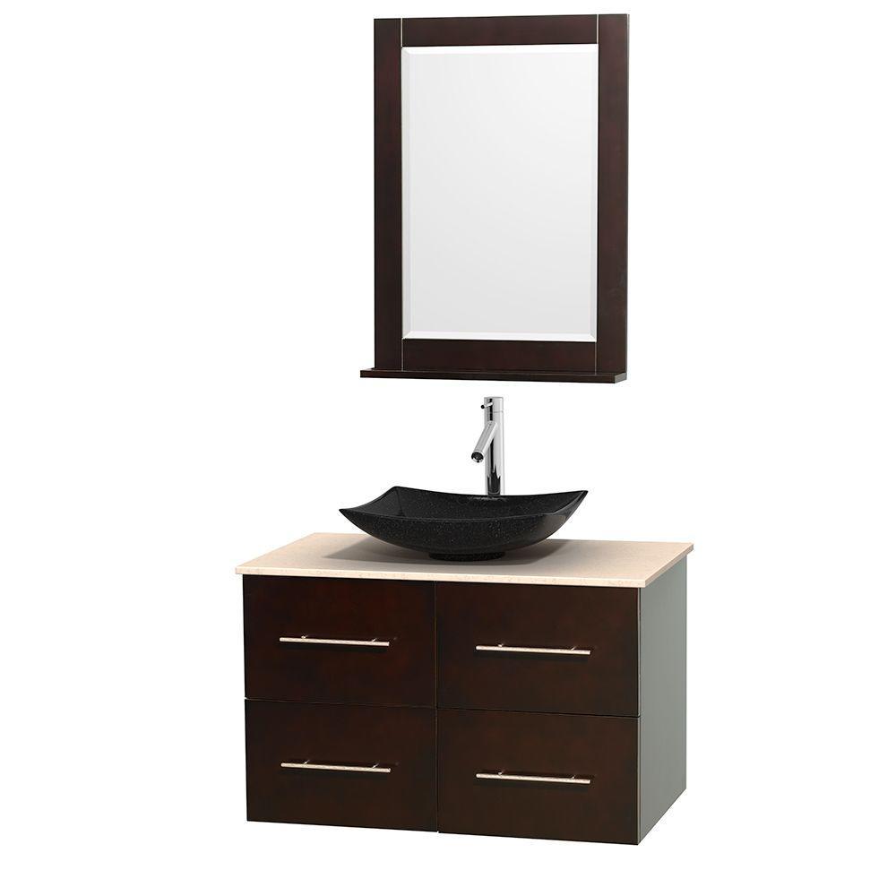 Centra 36 in. Vanity in Espresso with Marble Vanity Top in