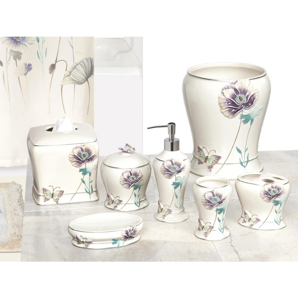 Garden Gate 6-Piece Ceramic Bath Accessory Set with Floral Motif