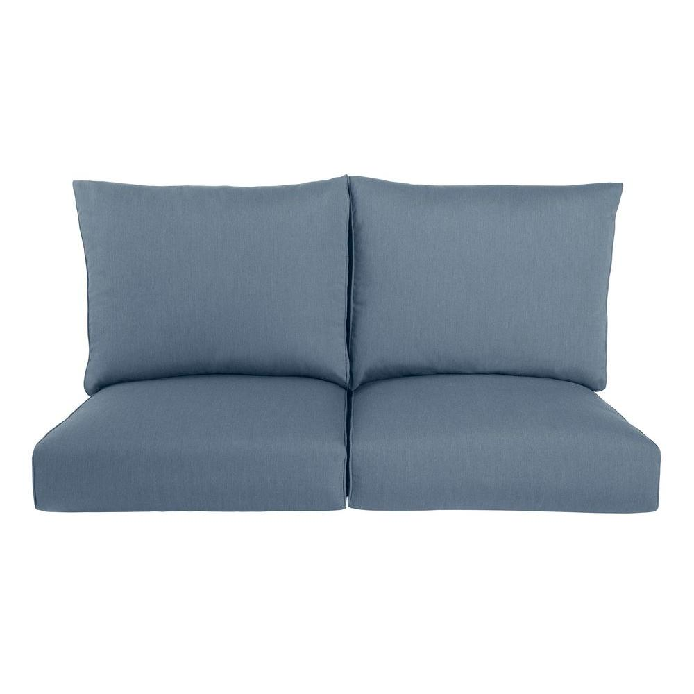 Nice Highland Replacement Outdoor Loveseat Cushion In Denim