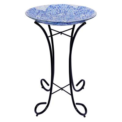 18 in. Blue Swirl Mosaic Glass Birdbath with Metal Stand