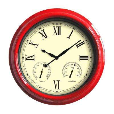18 in. Red Clock, Thermometer and Hygrometer