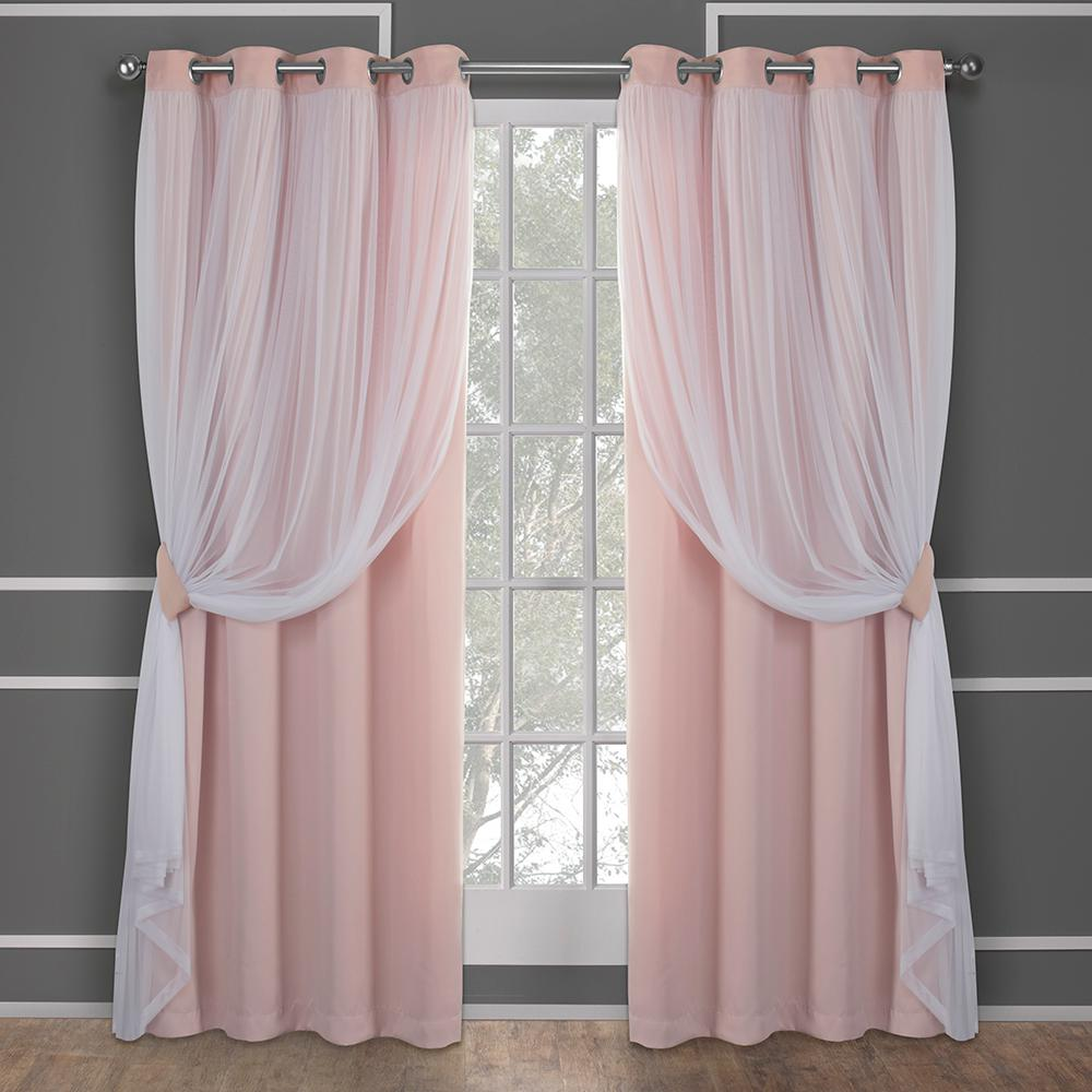 L Layered Sheer Blackout Grommet Top Curtain