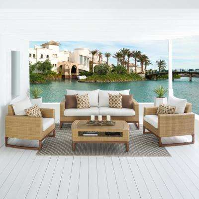Mili 4-Piece Wicker Patio Conversation Deep Seating Set with Sunbrella Moroccan Cream Cushions