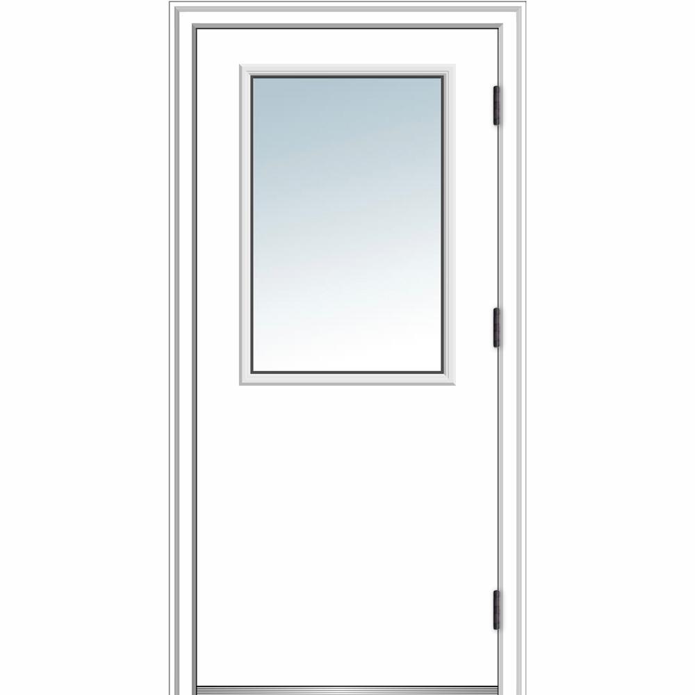 MMI Door 32 in. x 80 in. Classic Left-Hand Outswing 1/2 Lite Clear Primed Steel Prehung Front Door with Brickmould